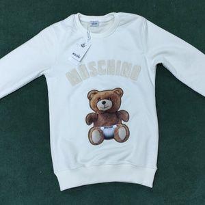 Moschino White Bear Pattern Women Sweatshirt